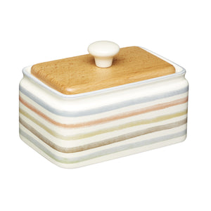 Kitchencraft KCCCBUTTER Classic Ceramic Striped Butter Dish with Lid