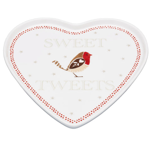 Kitchencraft RRHEART Little Red Robin Porcelain Serving Plate 23cm
