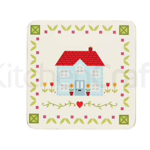 Kitchencraft KCDCHOMEPK4 Cork Backed Coasters Pkt4 - Home Sweet Home