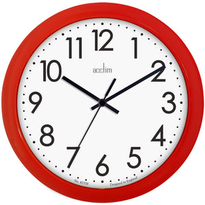 Acctim 21891 Abingdon Wall Clock 25.5cm - Red