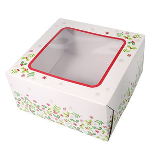 Culpitt 90215 Holly Square Cake Box - 10in