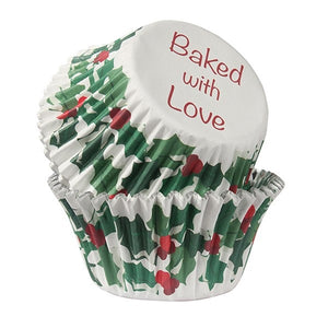 Baked With Love 2335 Holly & Berries Cupcake Cases - Pkt25