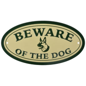 Sign HB22 Oval Metal 20x10cm - Beware Of The Dog