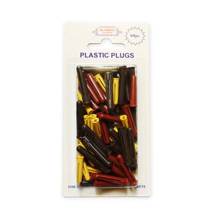 Olympic Fixings Plastic Plugs - Mixed (Y,R,B) Pk 60