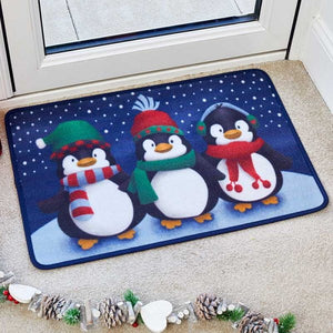 Three Kings 5520003 Washable Christmas Doormat 40x60cm - Frosty Penguins