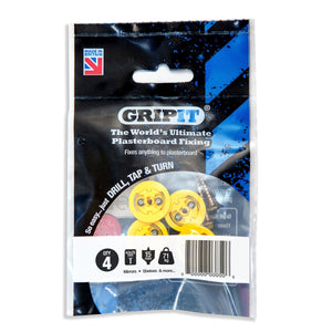 Gripit 152-254 Plasterboard Fixing Pkt4 Yellow