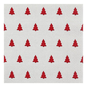 Home Fashion 611840 3 Ply Napkins Pkt20 - Linen Tree Red
