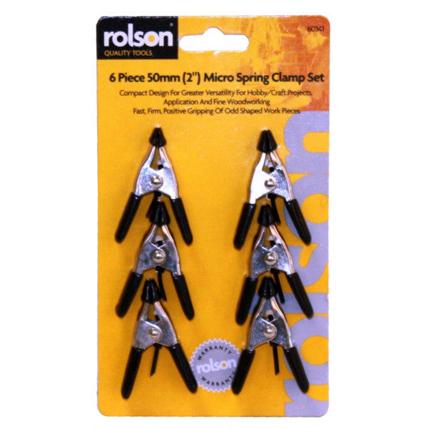 "Rolson 60341 50mm (2"") Metal Micro Spring Clamp - Set 6"