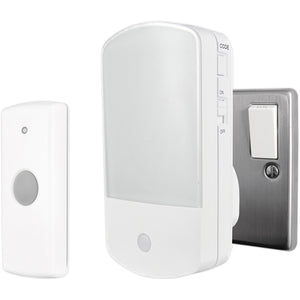 Uni-Com 66354 Night Light Plug-In Door Chime with Bell Push – White