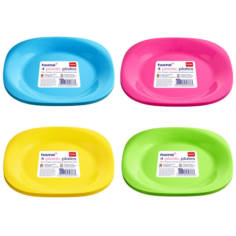 Home+ 60333 4 Plastic Plates 19cm - Various Colours