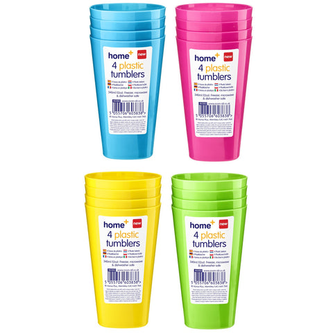 Home+ 60383 4 Plastic Tumblers - Various Colours