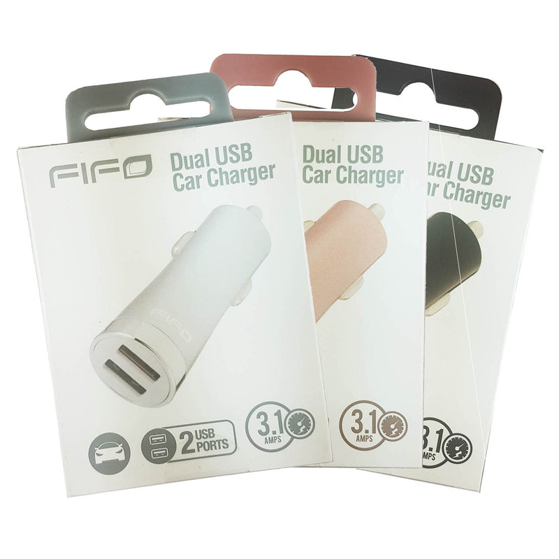 Fifo 60407 Dual USB Car Charger - Various Colours