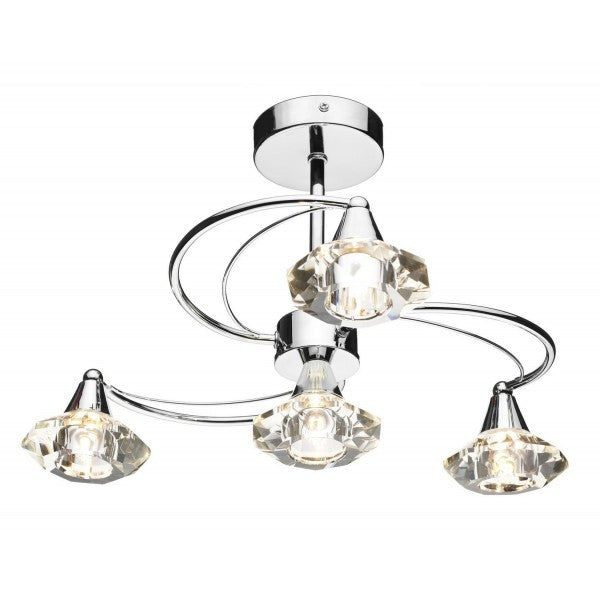 Dar LUT0450 Luther 4 Light Semi Flush Polished Chrome Ceiling Lights