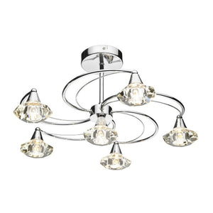 Dar LUT0650 Luther 6 Lt Semi Flush Glass Pol Chrome Ceiling Lights