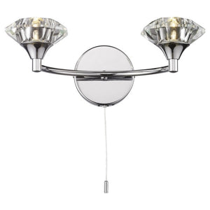 Dar LUT0950 Luther Double Wall Light Bracket Polished Chrome