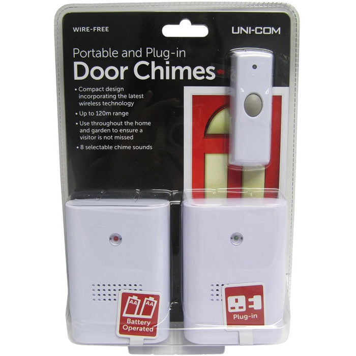 Uni-Com 62196 Portable & Plug-In Door Chimes - Twin Pack
