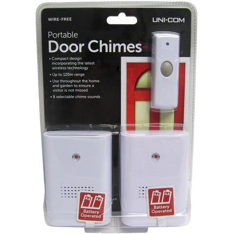 Uni-Com 63025 Portable Door Chimes - Twin Pack