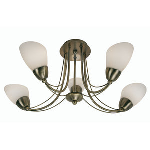 Oaks 8862/5AB Altair 5 Light Pendant - Antique Brass Ceiling Lights