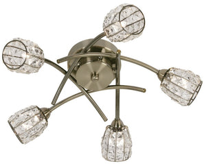 Oaks 5157/5AB Naira 5 Light - Antique Brass Ceiling Lights