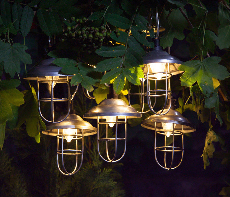 Noma 6817019 10 Solar Warm White Galvanised Metal Lanterns