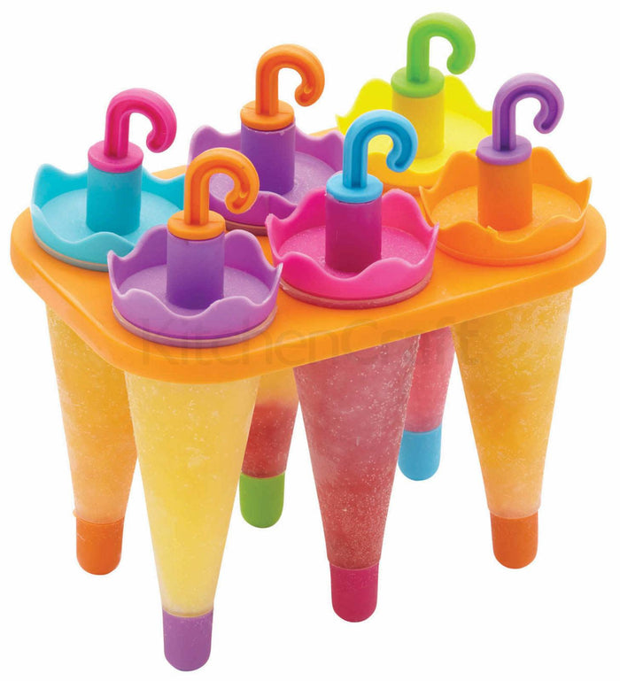 Kitchencraft KCLOLLYUMB set of six umbrella shaped lolly moulds