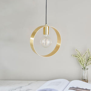 Endon Lighting 81921 Hoop 1Lt Ceiling Pendant - Brushed Brass