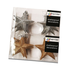 Premier Decorations 100mm Glitter Stars Pk6 - Assorted Colours