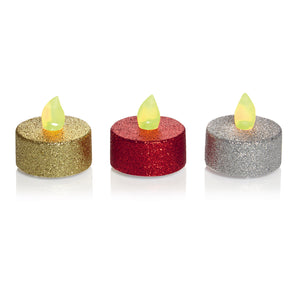 Premier Decorations LB101540 Flickering Glitter Tea Lights Pkt 5 - Various Colours