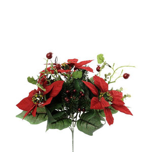Artificial 933189 Poinsettia & Berry Bunch - Length 30cm