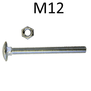 M12 Coach Bolts with Hex Nut BZP - Various Lengths