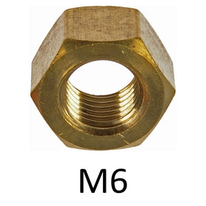 Hex Brass Metric Nuts - Various Sizes