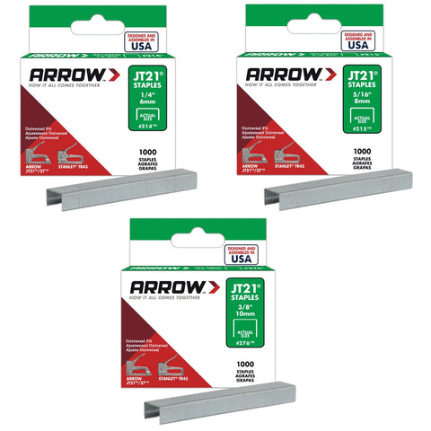 Arrow J21 Staples Pkt1000 - Various Sizes