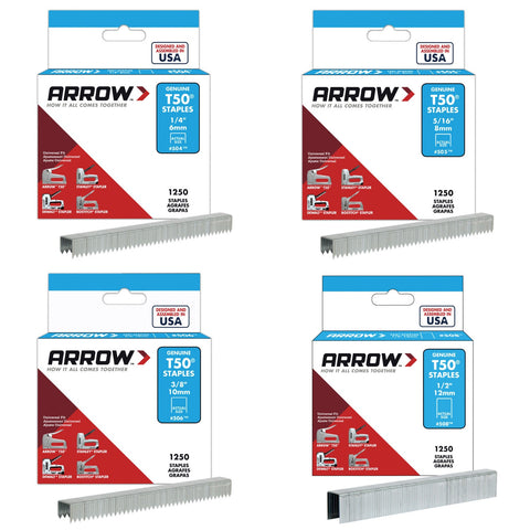 Arrow T50 Staples Pkt1250 - Various Sizes