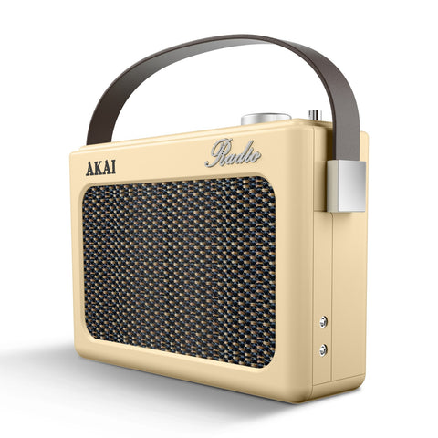Akai A60015C Retro Portable AM/FM Radio - Cream