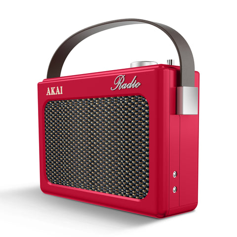 Akai A60015 Retro Portable AM/FM Radio - Red