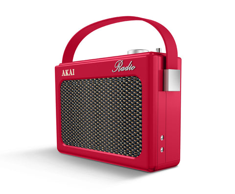 Akai A60016 Retro Portable DAB Bluetooth Radio - Red