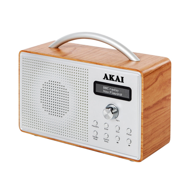 Akai A61018 Oak Wood DAB Radio with LCD Screen
