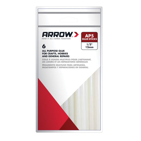 "Arrow AP5 All Purpose 4"" Clear Glue Sticks Pkt6"