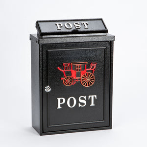 Harewood POST26 Black Post Box with Red Carriage Design