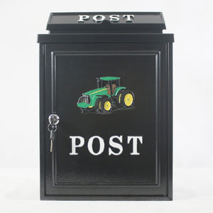 Harewood POST99 Black Post Box with Green Tractor Design