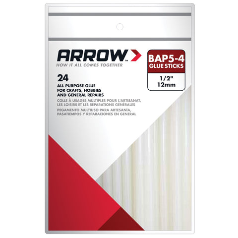"Arrow BAP5-4 All Purpose 4"" Clear Glue Sticks Pkt24"
