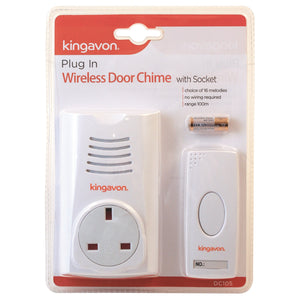 Kingavon DC105 Plug-In Wireless Door Chime with Socket