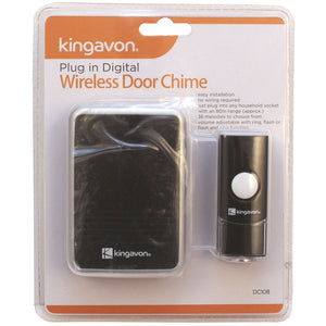 Kingavon DC108 Plug-In Digital Wireless Door Chime Black