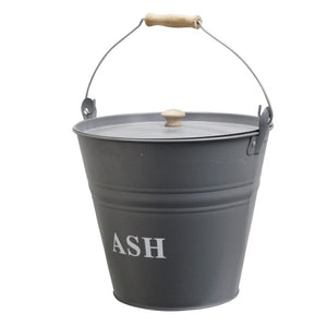 Á La Maison FIRE3 Ash Bucket with Lid Grey Metal