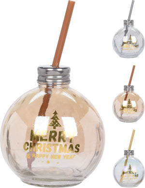 Koopman CD1002170 Christmas Drinking Glass Bauble Asst Colours