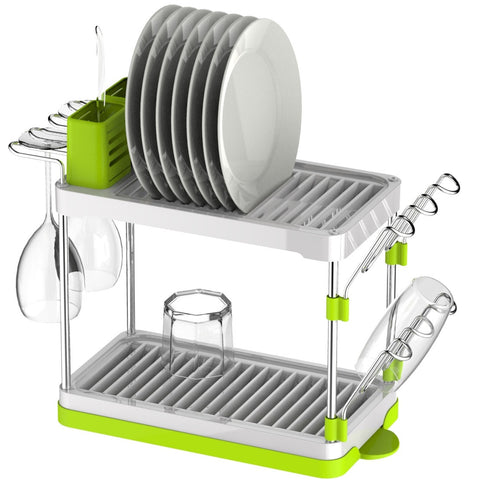 Sakura Drk014 2 Tier Dish Rack White Green