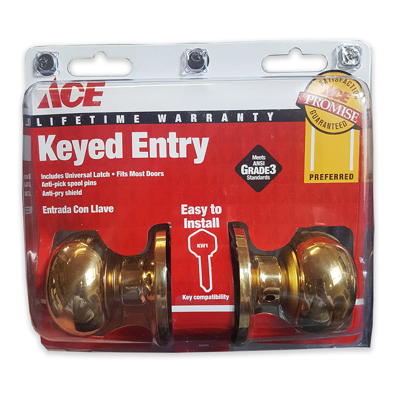 Ace Keyed Entry Colonial Knob Set - Polished Brass
