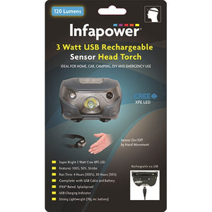 Infapower F046 3w Rechargeable USB Sensor Head Torch