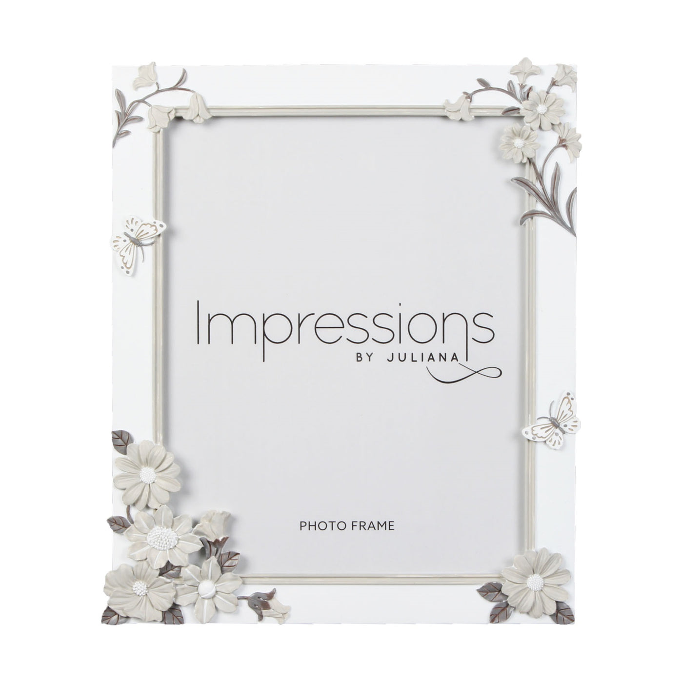 Impressions White with Grey Flowers Photo Frames - Various Sizes