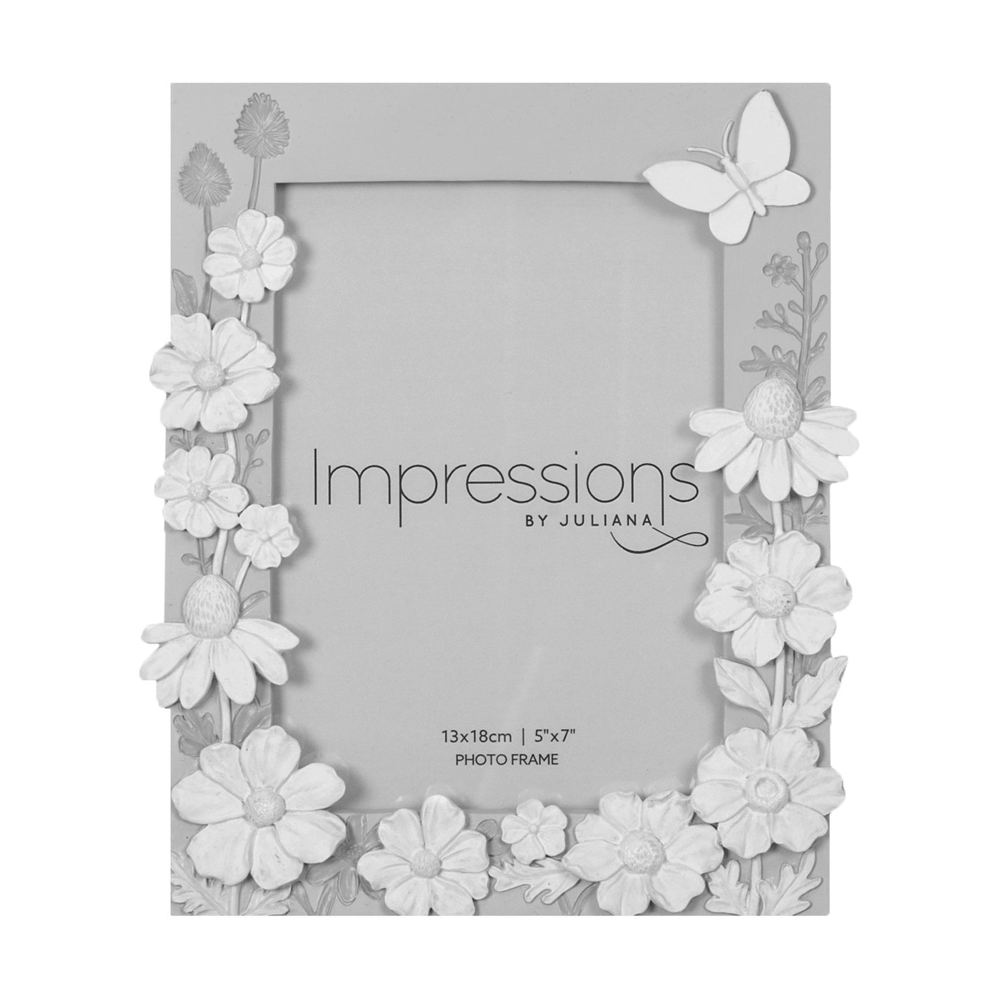 Impressions Grey with White Butterfly Photo Frames - Various Sizes ...